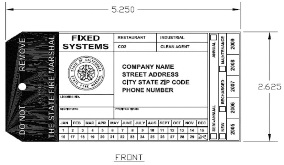 Click to enlarge image of regulation fire system tag